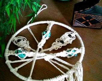 Small circular macrame hanging with torquoise