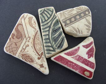 English Sea Pottery Tile Shards - Artifacts.