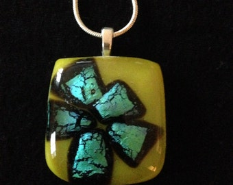Blue and yellow dichroic fused glass pendant