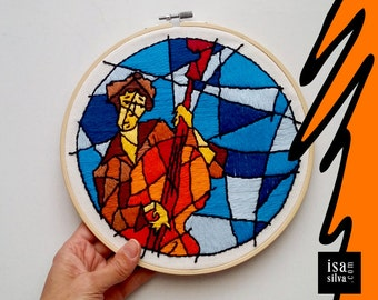 Embroidery Hoop Art-Jazz one-embroidered with rack