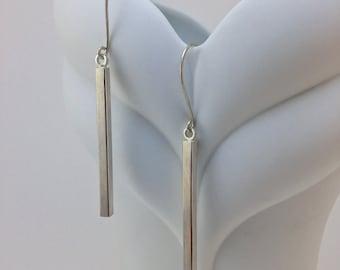 Sterling Silver Bar Drop Earrings - Silver Stick Earrings - Long Bar Earrings - Minimal