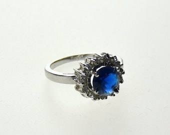 SILVER RING 925 with Lab Stone BLUE