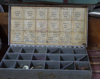 Vintage Locksmith Key Lock Pins Component Box