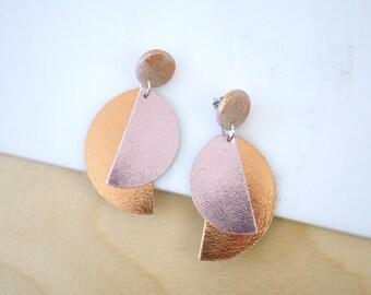 Dangle earrings, modern earrings, long earrings, pink earrings, leather earrings, polymer clay jewelry, gift for women, more colors