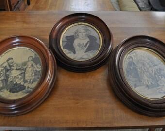 3 Victorian Walnut Frames