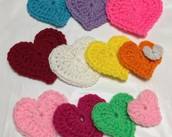 Crocheted Hearts, Set of 12, Heart Appliqué, Heart Embellishment