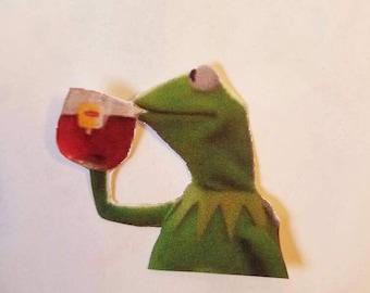 Kermit That's none of my business meme sticker