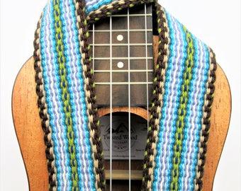 Handwoven Ukulele Strap, Mandolin or Guitar Strap,Handcut Leather Ends, Free  Leather Strap Holder