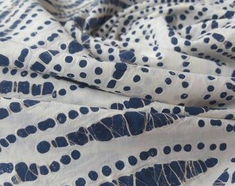 Cotton Textured Bubble Print Fabric in Navy Blue and Cream