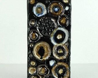 "vintage west german black ceramano ""urania"" VASE with circle pattern"