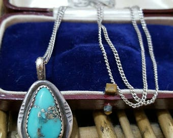 Vintage sterling silver necklace, native american design, turquoise pendant