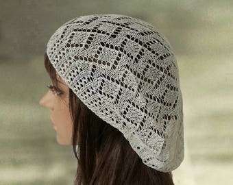 Knit cotton beret, Knitted slouchy hat, Slouchy beret cap, Spring summer hat, Slouchy beanie hat, Boho knit beret, Knit womens beret