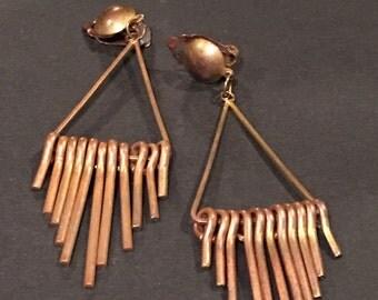 Vintage Copper Metalwork Industrial Dangle Drop Clip On Earrings