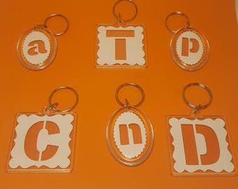 Initial keyring, Papercut keyring, Personalised keyring, Letter Keyring, Stencil keyring, Cut out key chain, Paper letter keyring