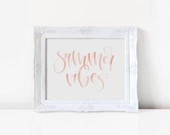 Summer Vibes Peach Handwritten Calligraphy Art Print