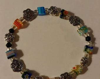 Multi colored square bead with flowers Bracelets