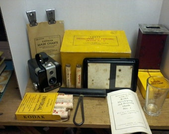 Kodak Developing and Printing Outfit No. 2 and Brownie Hawkeye Camera