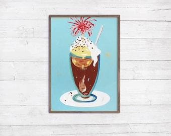 Eiscafé für Küche Wohnküche Esszimmer Eisbar Restaurant Hotel italienisch nostalgisch bunte Wanddekoration Illustration Malerei