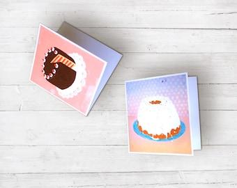 2 Klappkarten Retro Vintage Kitsch Torten Geburtstag Muttertag Überraschung