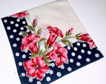 Ladies Linen Hankerchief, Cotton Hanky Pink Tulips , Spring Flowers, Blue with White Polka Dots Pink Tulips Handkerchiefs, Valentines Hanky