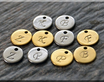Add a Charm, Mini Initial Charm, Monogram Pendant, Personalized charm, Initial pendant, hand stamped Letter charm, Add an Initial Charm