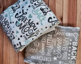 Love you to the Moon and Back Burp Cloths, gender neutral burp cloths, burpees, burp rags