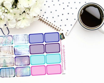 Planner Stickers | Winter Half Box Stickers| Winter Stickers|Half Box Stickers|For use in a variety of planners and journals|WHB01