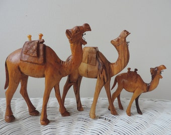 Three Hand Carved Wood Camels Made in Israel Vintage