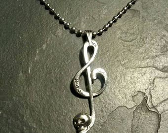 Skull Music Note Charm Pendant Horror Macabre Treble Cleft Gothic Goth Gift Necklace Skull Music Note Charm Pendant Horror Macabre Treble