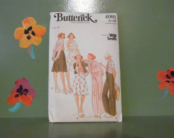 Butterick 4091 Willi Smith Sewing Pattern Jacket Skirt Pants Misses Women Fashion Design Mid Century Modern Retro Vintage