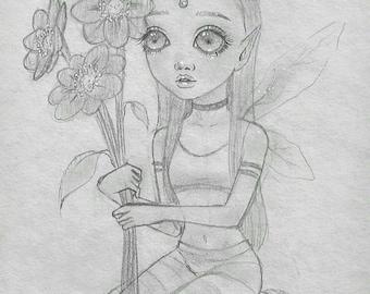 "Original pencil illustration- ""Flower Pixie""- 8 1/2""x 5 1/2"" pop Surrealism fairy Illustration"