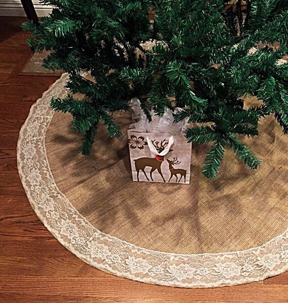 Etsy Christmas Tree Skirt: Items Similar To Christmas Tree Skirt, Burlap And Lace