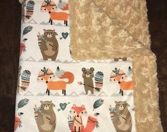 Native Animals Minky Blanket