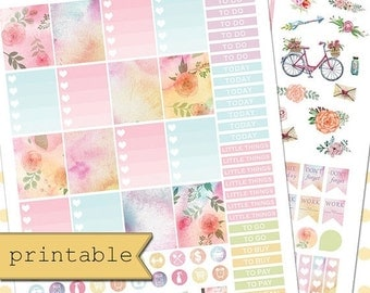 Stickers  Labels  amp  Tags     Etsy     OFF SALE  Printable Watercolor Floral Planner Stickers Erin Condren Planner Stickers Weekly Theme Kit Planner Sticker Kit Instant Downlo