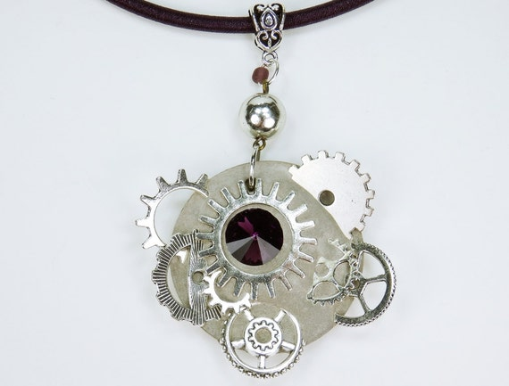 Necklace glamour steampunk glittering dark purple rhinestones stone concrete jewelry on dark purple silk band Gears Purple Concrete Jewelry