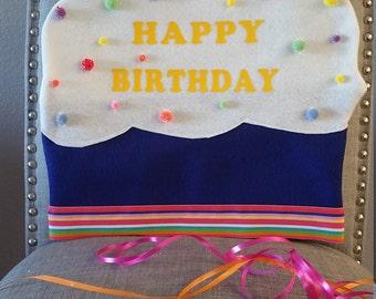 HAPPY BIRTHDAY-Cupcake Chair cover, preschool,kindergarten, teachers class, classroom deor, cupcake Chair cover,Happy Birthday, Birthday boy