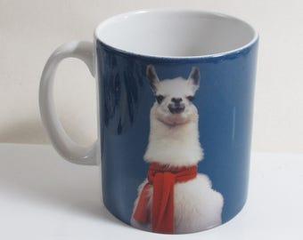 Llama In Scarf Paint Effect Mug Funny Meme Cute Coffee Tea Cup