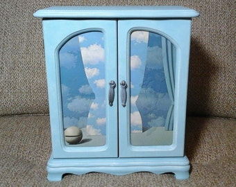 Magritte Inspired Jewelry Box, Soft Teal Chalk Painted Jewelry Box