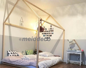 90 x 190 cm kids nursery bed montessori wooden house children bed house play