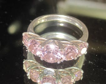 F-115  Vintage Ring 925 silver size 10 morganite stone