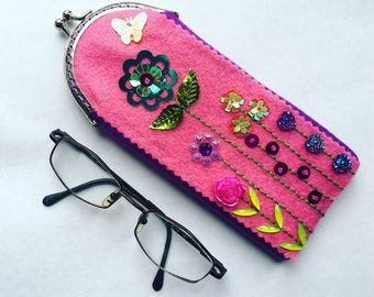 Girl's bling pink sparkly glasses case, personalised teenager's sunglasses case, kids spectacles cover pouch, birthday gift for girl friend