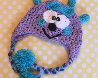 Little monster hat, girl monster hat, toddler monster hat, baby monster hat, silly hat