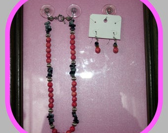 Pink and Black Necklace/Earrings