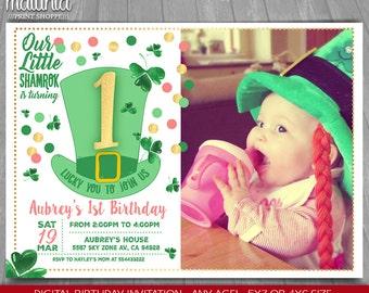 St Patricks Day Birthday Invitation - St Patricks Day Party Invitation - Lucky charm Printed invite with photo - Shamrock Pink irish hat