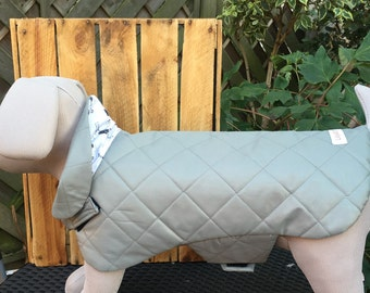 Sage Green Quilted Water Resistant Dog Coat