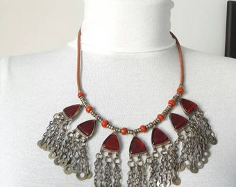 100% AFGHAN red glass NECKLACE