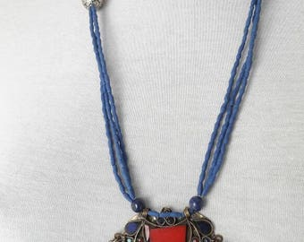 TURKMEN Sautoir necklace with lapis lazuli
