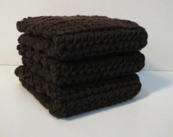 Handmade Crochet Cotton Dishcloths or Washcloths, Set of 3 in Dark Brown (Dishcloths2134)