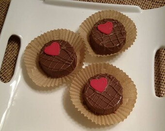 Chocolate Covered Oreos with Small Red Heart
