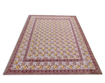Indian Hand Block Printed Floral Design Cotton Double Bed sheet in Pink Color size 90x108""